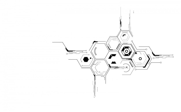 Structures abstraites hexagonales dans le style de la technologie et de la science