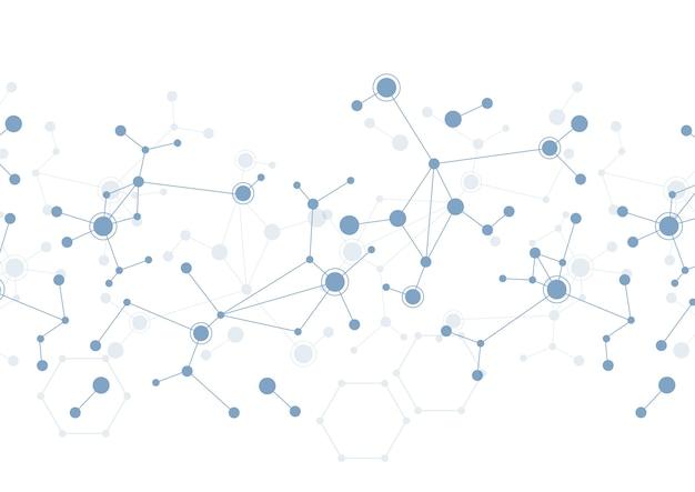 Structures moléculaires de point et ligne abstraites dans le fond de la technologie et le style scientifique