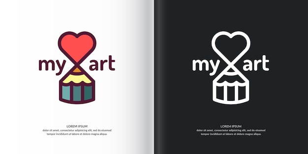 Studio d'art conceptuel de logo. logo moderne, crayons et coeurs