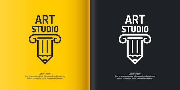 Studio d'art conceptuel de logo. logo moderne, logo linéaire de colonnes.