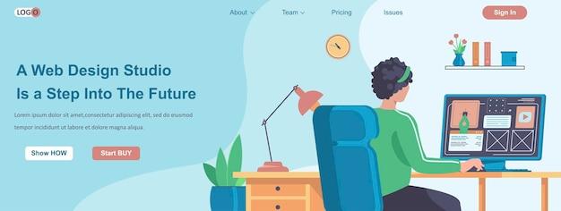 Le Studio De Conception Web Est Une étape Dans Le Futur Concept De Bannière Vecteur Premium
