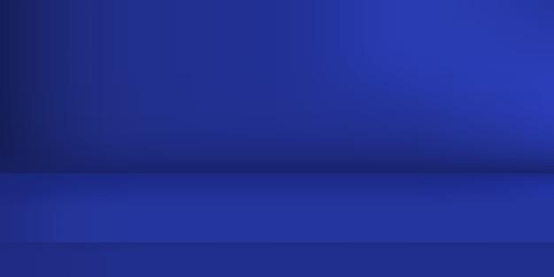 Studio de couleur bleu vide. arrière-plan de la pièce, affichage du produit avec espace de copie pour l'affichage de la conception du contenu. illustration.