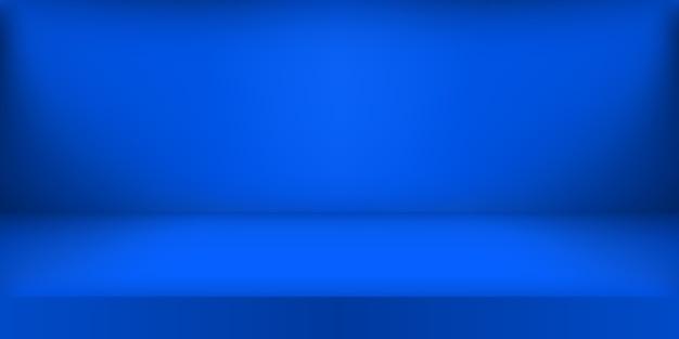 Studio de couleur bleu vide.