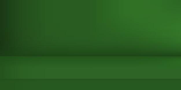 Studio de couleur verte vide. arrière-plan de la pièce, affichage du produit avec espace de copie pour l'affichage de la conception du contenu. illustration.
