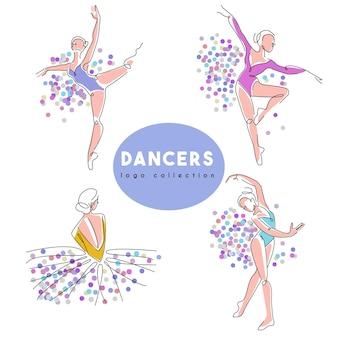Studio de danse étirant la collection de logos préfabriqués