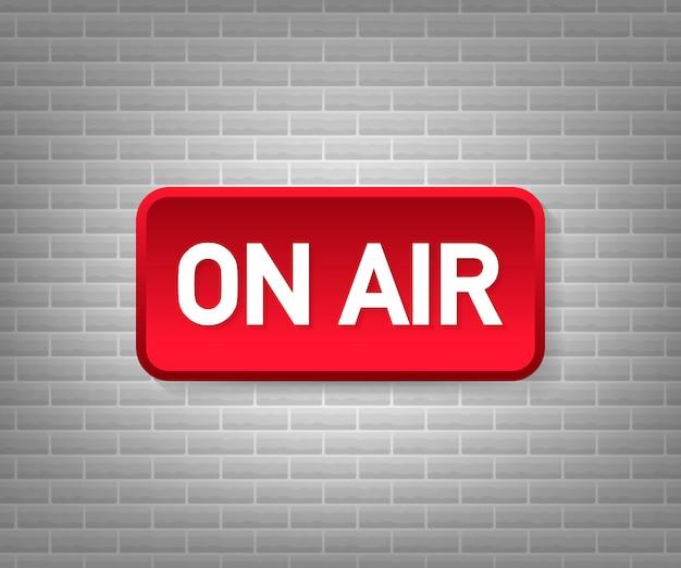 Studio de diffusion sur lumière aérienne. enseignez la radio et la télévision. illustration.