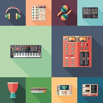 Studio de musique ensemble d'icônes plates et carrées avec longues ombres.