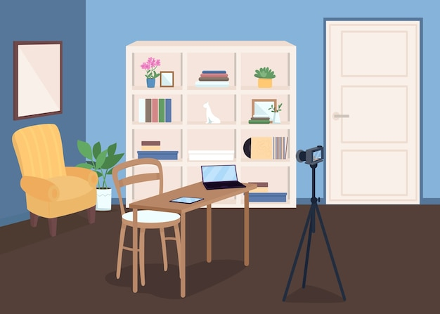 Studio pour l'enregistrement vidéo illustration couleur plate. diffusion en direct. examen de l'électronique de tir avec appareil photo. lieu de travail vlogger. intérieur de la salle de dessin animé 2d avec des meubles sur fond