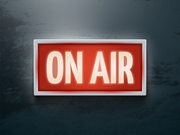 Studio de radiodiffusion sur l'air signe de vecteur de lumière sur le mur