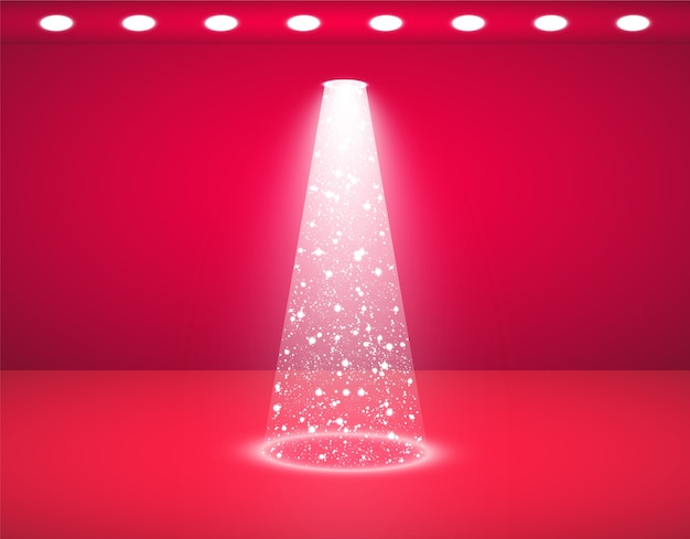 Studio rouge et lumières brillantes
