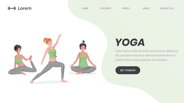 Studio de yoga ou modèle de page de destination de pilates en ligne avec texte