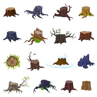 Stumps set d'icônes. jeu de dessin animé d'icônes de souches