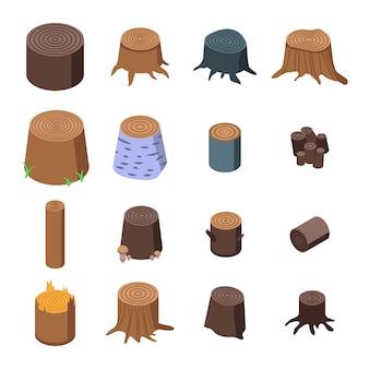 Stumps tree set d'icônes, style isométrique