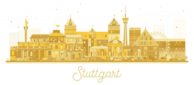 Stuttgart allemagne city skyline silhouette avec bâtiments dorés isolé sur blanc.