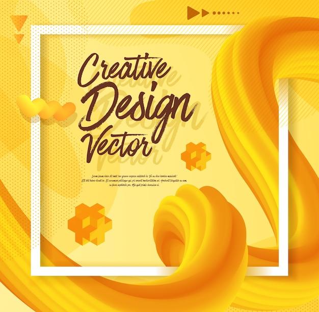Style 3d de conception d'affiche abstraite liquide jaune