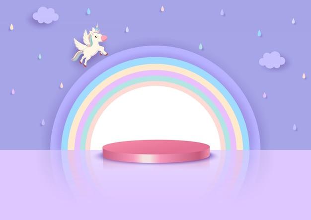 Style 3d illustration vectorielle de licorne et arc-en-ciel avec podium se dresse sur fond de ciel de pluie violet.