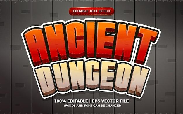 Style 3d de jeu de dessin animé d'effet de texte modifiable de donjon antique