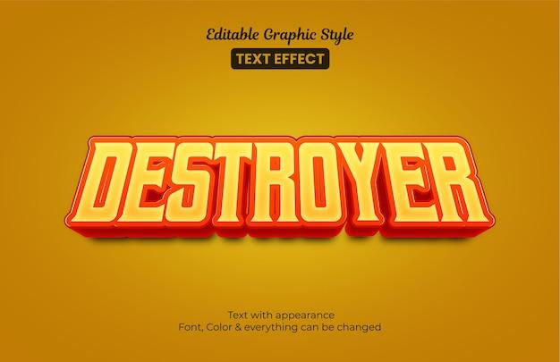 Style 3d de jeu orang. effet de texte de style graphique modifiable