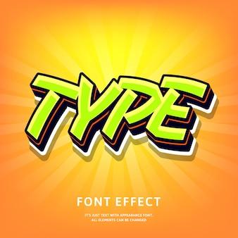 Style 3d moderne lettrage effet de texte graffiti style pop vert sur orange