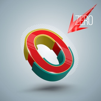 Style 3d numéro vecteur zéro