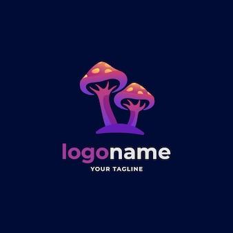 Style abstrait de dégradé de logo de champignon pour lagriculture vivrière biologique