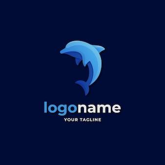 Style abstrait de dégradé de logo de dauphin pour les affaires d'entreprise d'aventure sous-marine de la vie marine
