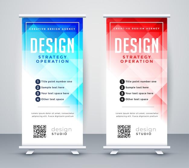 Style abstrait entreprise roll up template de bannière