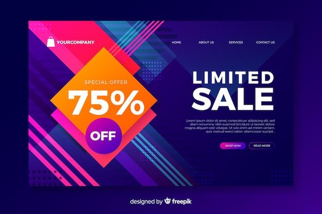 Style abstrait de la page de destination des ventes