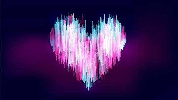 Style abstrait de type néon, dégradé coloré bleu-blanc-rose en forme de cœur sur dégradé bleu foncé-violet