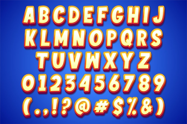 Style d'alphabet moderne en style cartoon