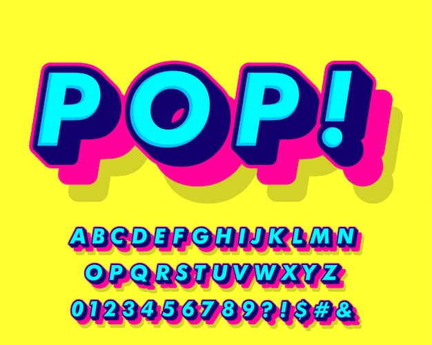 Style alphabet pop art fantaisie