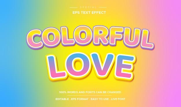 Style d'amour coloré à effet de texte modifiable