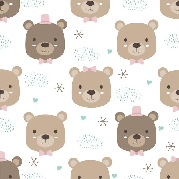 Style animal dessiné à la main, dessin animé ours mignon doodle pastel wallpaper