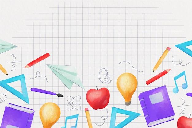 Style aquarelle au fond de l'école