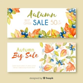 Style d'aquarelle de bannières de vente d'automne