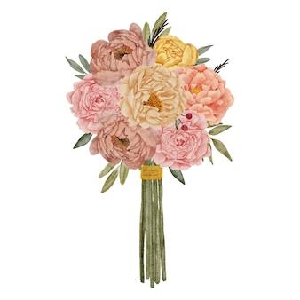 Style aquarelle de bouquet floral de pivoines peintes à la main