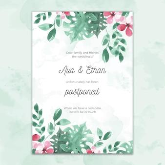 Style aquarelle de carte de mariage