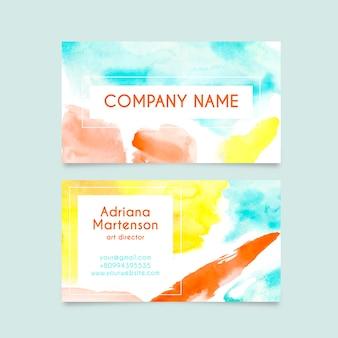 Style aquarelle de carte de visite entreprise