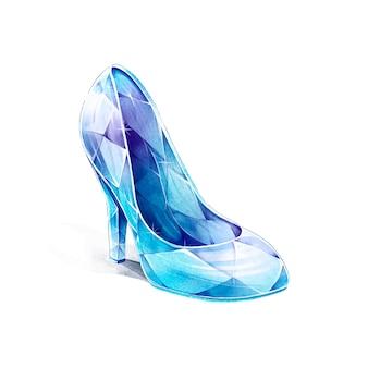 Style aquarelle de chaussure en verre de cendrillon