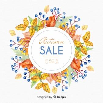 Style d'aquarelle de fond de vente automne