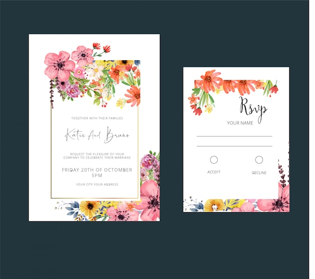 Style d'aquarelle d'invitation de mariage