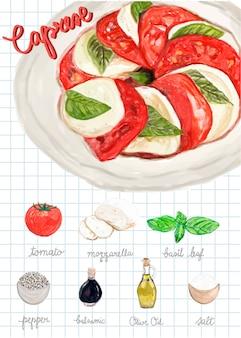 Style d'aquarelle salade caprese dessiné à la main