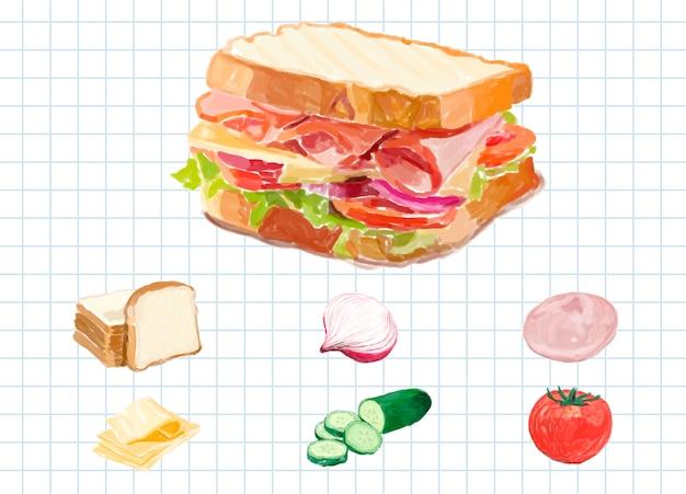 Style aquarelle sandwich dessiné à la main