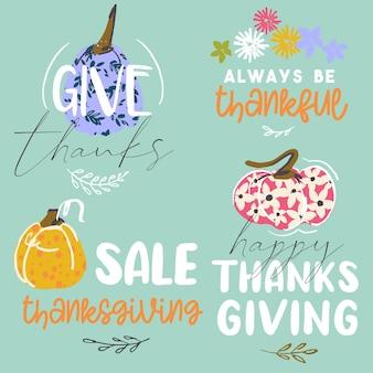 Style d'art dessiné à la main d'autocollants premade de thanksgiving