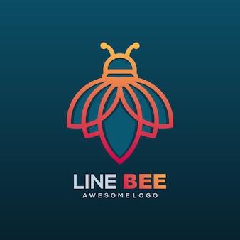 Style d'art de ligne d'abeille d'illustration de logo vectoriel