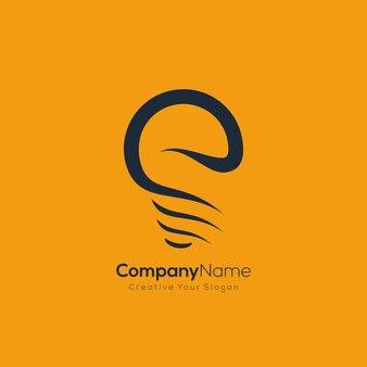 Style d'art de ligne d'ampoule de logo d'entreprise moderne