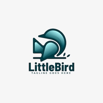 Style d'art de ligne de dégradé petit oiseau logo.