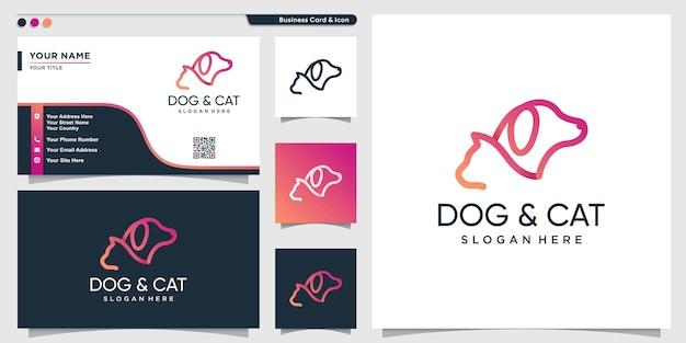 Style d'art de ligne de gradient moderne de logo de chien et de chat et modèle de conception de carte de visite vecteur premium