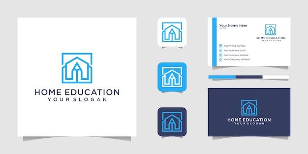 Style d'art de ligne de logo de crayon à la maison et carte de visite