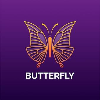 Style d'art de ligne de papillon de logo.